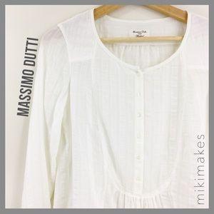 [ massimo dutti ] vintage white button front top