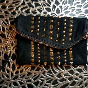 henri bendel Handbags - Henri Bendel Suede Studded Wristlet Clutch Wallet