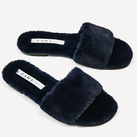 6251d325500 Zara navy blue faux fur slides -- size 8