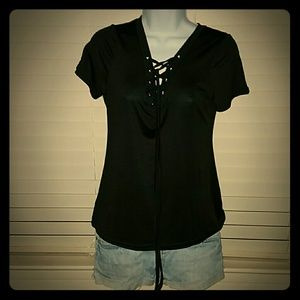 Tops - *NWOT Black Lace-Up Tee*