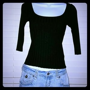 Wet Seal Sweaters - *Black Sweater with 3/4 Length Sleeves*