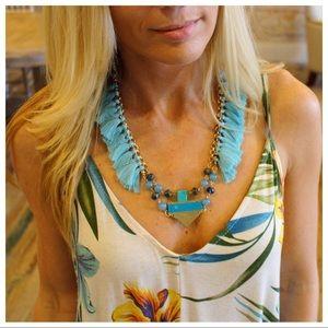 Turquoise fringe necklace set