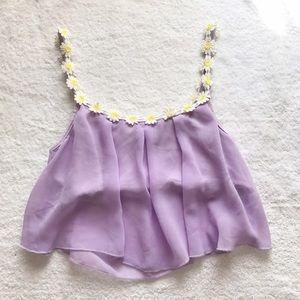Tops - Lavender Purple Daisy Sheer Bustier Crop Top Tank