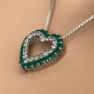 Vintage Jewelry - Emerald & White Sapphire Heart Necklace