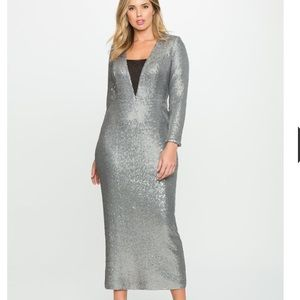 Eloquii Dresses & Skirts - Eloquii Silver Sequin Fitted Long Sleeve Gown