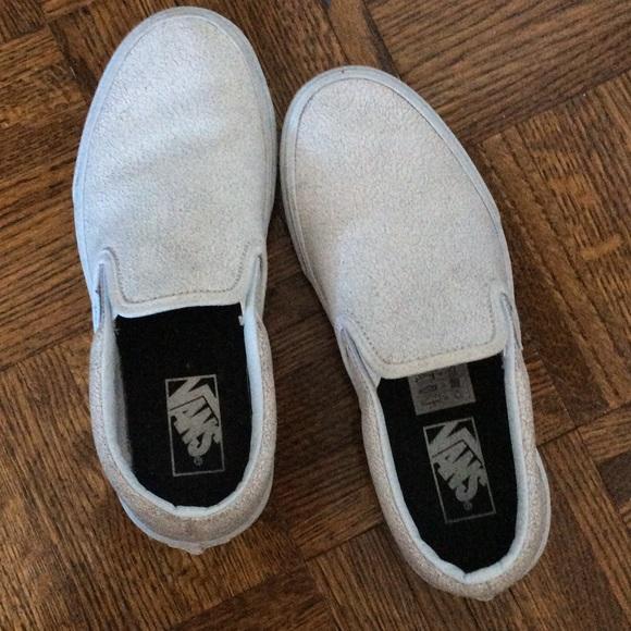 white slip on vans size 8