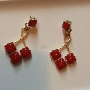 Candy apple red and brushed gold earrings