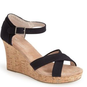 TOMS Shoes - Toms Canvas Ankle Strap Wedge Sandal