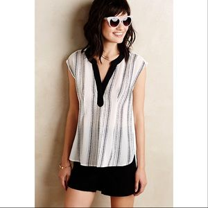 Anthropologie Tops - Flowing Black and White Anthropologie Blouse