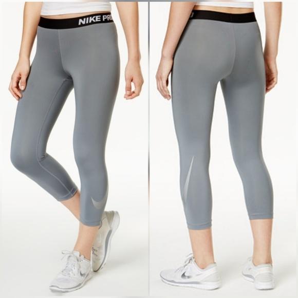 2d9ee93ad0e54 Nike Pants | Pro Metallic Swoosh Gray Cropped Capri Tights | Poshmark