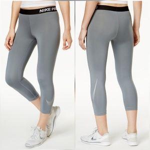 Nike Pants - Nike Pro Metallic Swoosh Gray Cropped Capri Tights