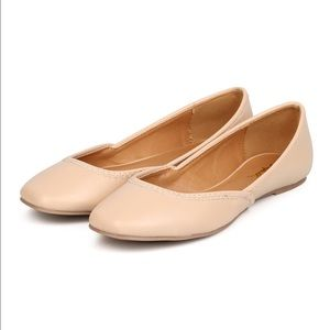 Qupid Shoes - Nude square toe ballerina flats