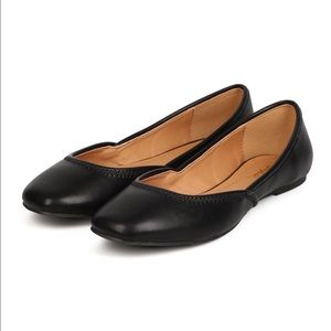 Qupid Shoes - Black square toe ballerina flats