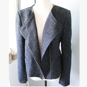 Ann Taylor | Boucle Navy Zip Moto Jacket