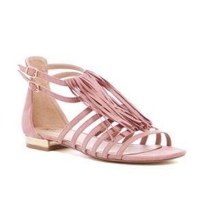 Shoes - ✨NIB✨ Blush Pink Microsuede Fringe Sandals