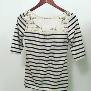 Tops - Lace/Striped Shirt