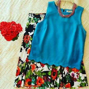 Monteau Tops - Monteau turquoise scalloped top