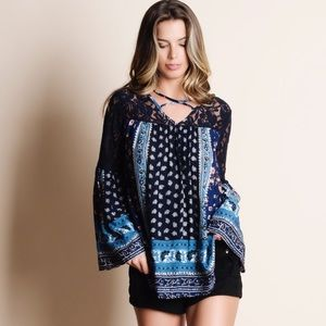Bare Anthology Tops - Printed Bell Sleeve Top