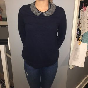 J. Crew Sweaters - J. Crew Statement Collar Navy Sweater