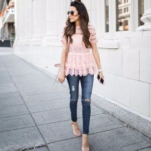 Pink Lace Baby Doll Top