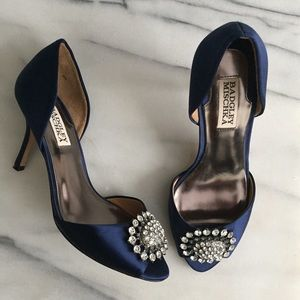 Badgley Mischka Shoes - BADGLEY MISCHKA Navy Blue Satin D'Orsay Pump