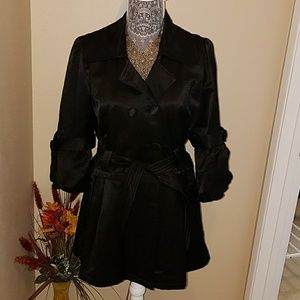 Jackets & Blazers - Elegant black satin trench coat