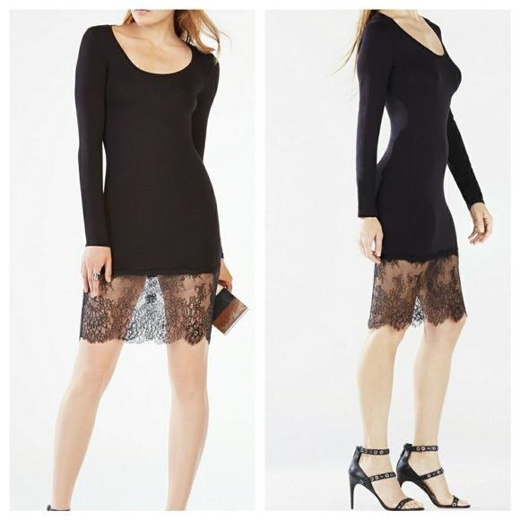 431e1d362268 New Bcbg Maxazria Livi Long-Sleeve Lace-Hem Dress. NWT. BCBGMaxAzria