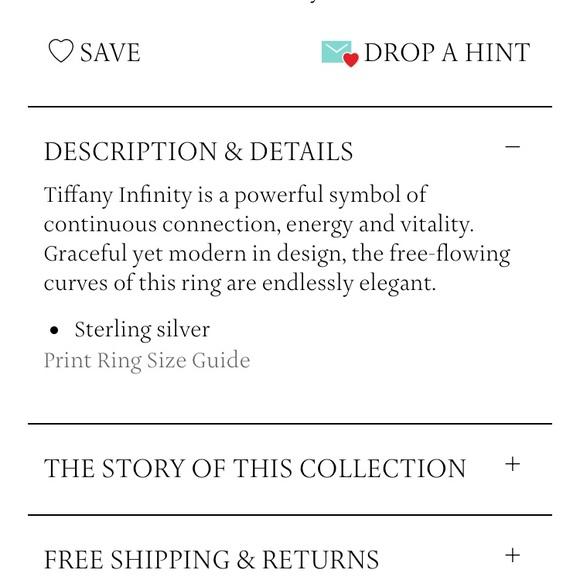 25 off tiffany amp co jewelry tiffany amp co infinity