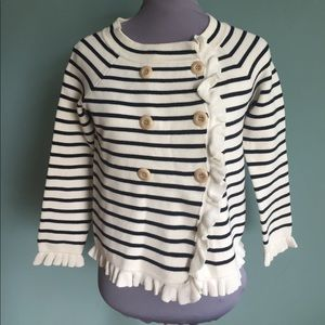 J. Crew Sweaters - J.Crew striped ruffle Cardigan sweater xs