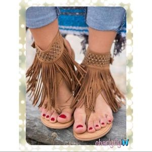 Shoes - KHAKI Tasseled Ankle Sandals