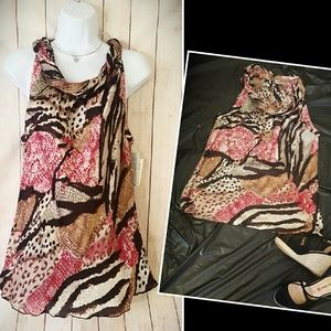 Larry Levine Tops - Flowy Animal Print Top Dress or Tunic Loose Larry