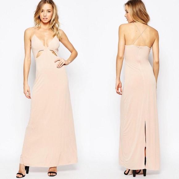 ddb18219cc ASOS Dresses | Nwt Ax Paris Blush Nude Cut Out Evening Maxi Dress ...