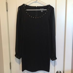 Miss Chievous Dresses & Skirts - Black Dress w/ Sheer Sleeve & studded collar