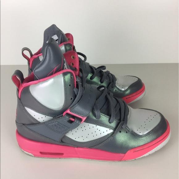 22f7fa13e3bf Air Jordan Shoes - Nike Air Jordan Flight High 45 - Pink Grey Youth 7
