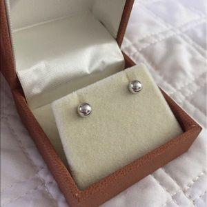 14K White Gold ball earrings