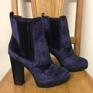 Report Signature Shoes - Purple Velour & Black Chunky Heel Boots Polk 6