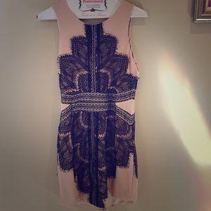 LF Mesh Panel Eyelash Lace Dress