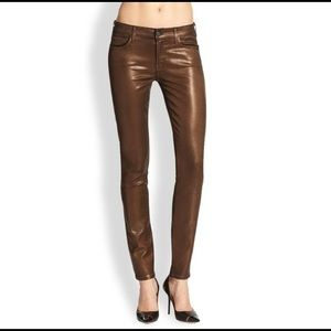 7 For All Mankind Coated Brown Shimmer Skinny Jean