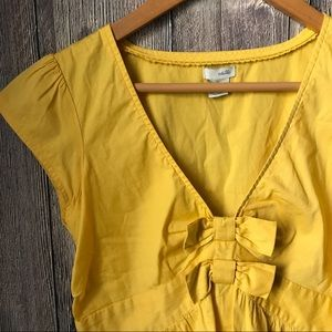Anthropologie Tops - Anthropologie Odille yellow bow shirt