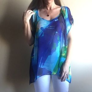 BCBGMaxAzria watercolor cold shoulder tunic