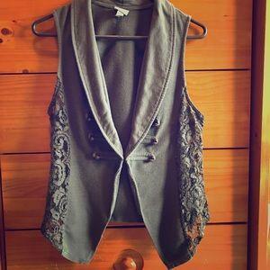 Vanity Jackets & Blazers - Olive lace sleeveless jacket