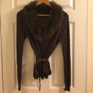 Wet Seal Sweaters - Sweater jacket with fur collar
