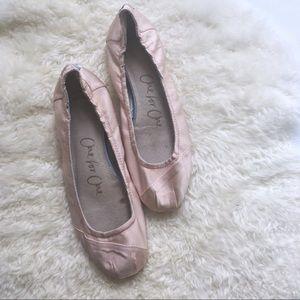 TOMS pink grosgrain ballet flats