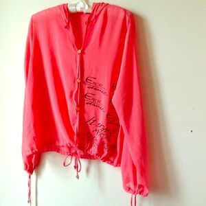 CORAL CHIFFON BLOUSE WITH HOOD & BUTTONS & TIES