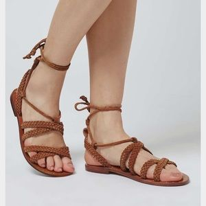TopShop braided leather ankle tie sandals