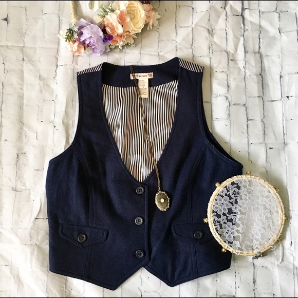 Forever 21 Jackets & Blazers - Boho Navy Striped Wool Button-down Vest w Pockets