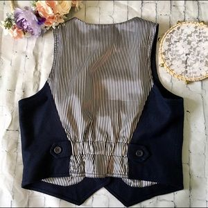 Forever 21 Jackets & Coats - Boho Navy Striped Wool Button-down Vest w Pockets