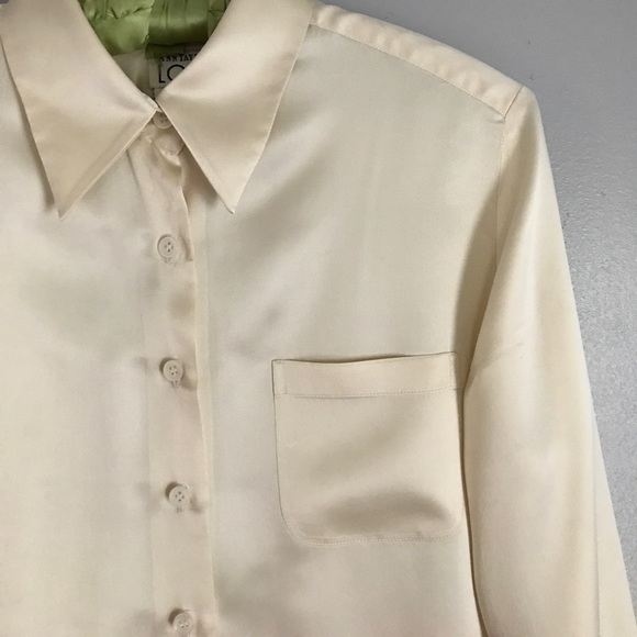Vintage Vintage Ann Taylor Loft Ivory Silk Blouse From
