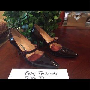 Manolo Blahnik Shoes - Manolo Blahnik Burgundy Patent Heels