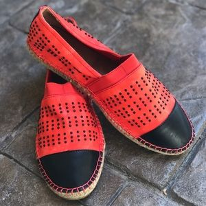 Black and Red Studded Espadrille Flats
